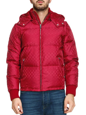 Gucci: padded jackets online - GG jacquard red nylon puffer jacket