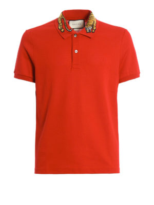 Gucci: polo shirts - Embroidered tiger patch polo