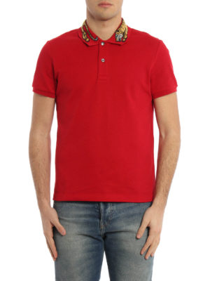 Gucci: polo shirts online - Embroidered tiger patch polo