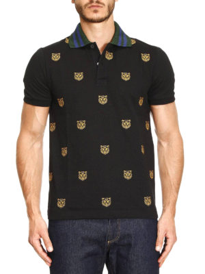 Gucci: polo shirts online - Tiger head embroidered polo shirt