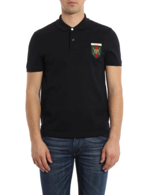 Gucci: polo shirts online - Web crest detail polo shirt
