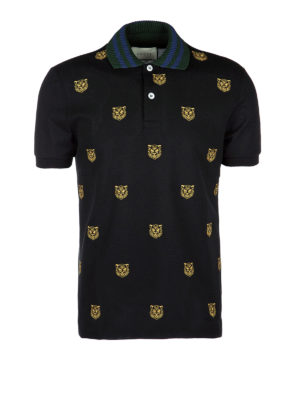 Gucci: polo shirts - Tiger head embroidered polo shirt