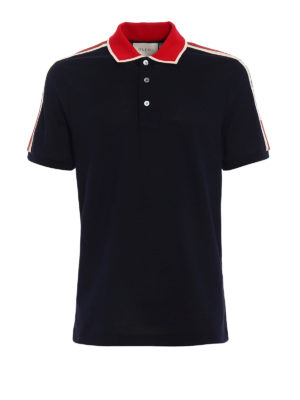 Gucci: polo shirts - Web detail cotton polo shirt