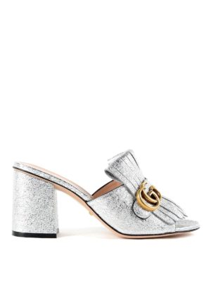 Gucci: sandals - Metallic leather sandals