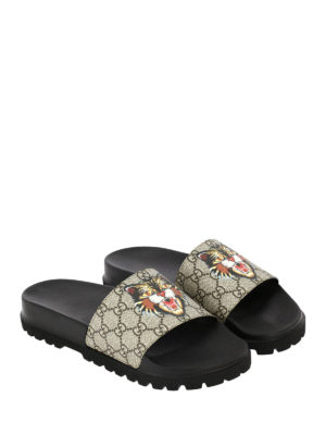 Gucci: sandals online - Angry Cat GG supreme slides