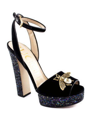 Gucci: sandals online - Bee detailed glitter velvet pumps
