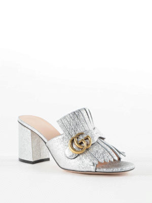 Gucci: sandals online - Metallic leather sandals