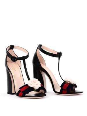 Gucci: sandals online - Silk flower leather sandals