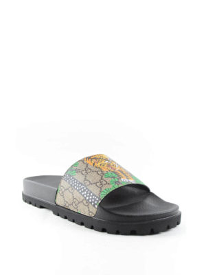 Gucci: sandals online - Tiger flat sandals