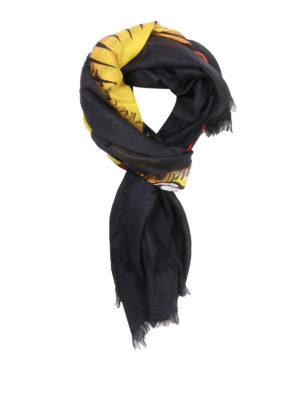Gucci: scarves - Angry Cat pattern silk blend scarf