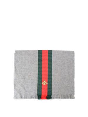 Gucci: scarves - Bee embroidery wool scarf