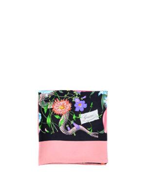 Gucci: scarves - Flora Snake print silk foulard