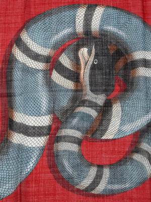Gucci: scarves online - Snake print wool scarf