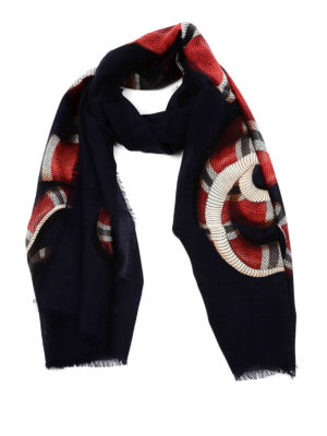 Gucci: scarves - Snake print wool scarf