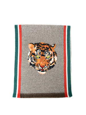 Gucci: scarves - Tiger intarsia wool scarf