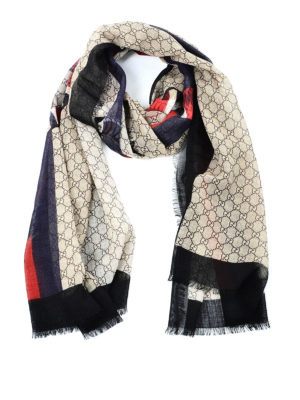 Gucci: scarves - Web and snake print GG wool scarf