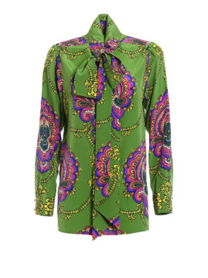 Gucci: shirts - 70s graphic print silk shirt