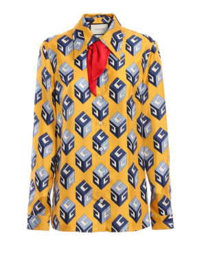 Gucci: shirts - Big Cubo silk shirt