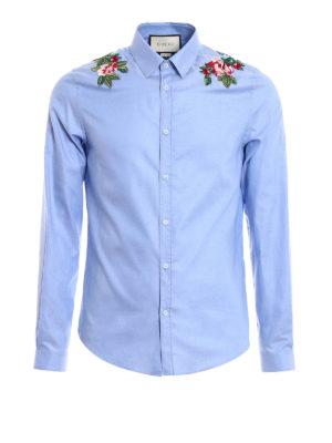 Gucci: shirts - Duke embroidered cotton shirt