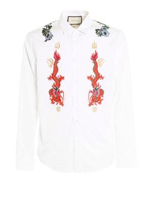 Gucci: shirts - Embroidered patch shirt