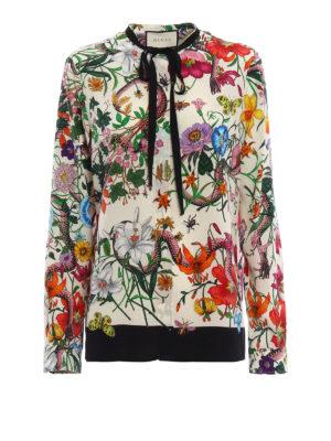 Gucci: shirts - Flora Snake romantic silk shirt