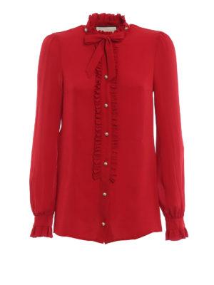 GUCCI: camicie - Blusa in seta con volant e perle