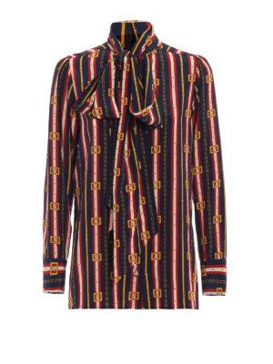 GUCCI: camicie - Camicia con fiocco in seta GG a righe
