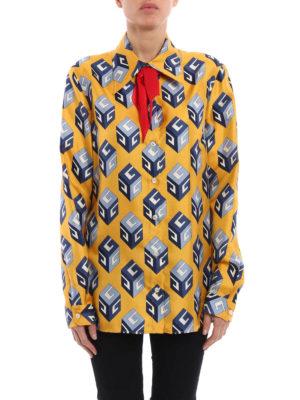 Gucci: shirts online - Big Cubo silk shirt