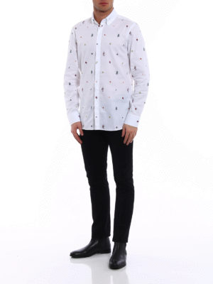 Gucci: shirts online - Coloured embroideries white shirt
