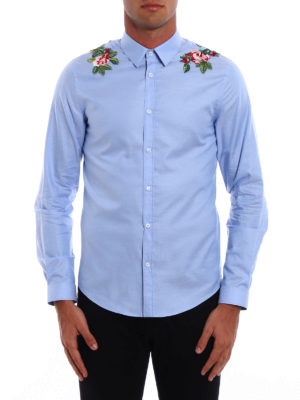 Gucci: shirts online - Duke embroidered cotton shirt