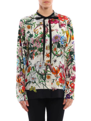 Gucci: shirts online - Flora Snake romantic silk shirt