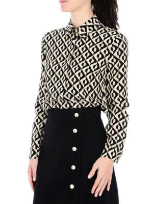Gucci: shirts online - Optic print georgette silk shirt