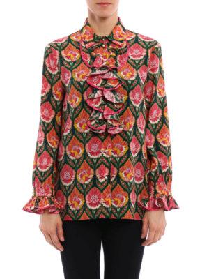 Gucci: shirts online - Pleated ruffle silk shirt