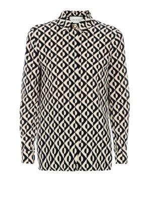 Gucci: shirts - Optic print georgette silk shirt