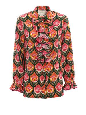 Gucci: shirts - Pleated ruffle silk shirt