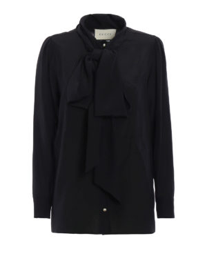 Gucci: shirts - Printed crepe de chine silk shirt