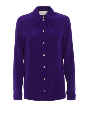Gucci: shirts - Purple silk crepe de chine shirt