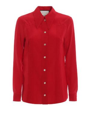 Gucci: shirts - Red silk crepe de chine shirt