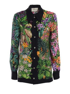Gucci: shirts - Woodland and fawn print silk shirt