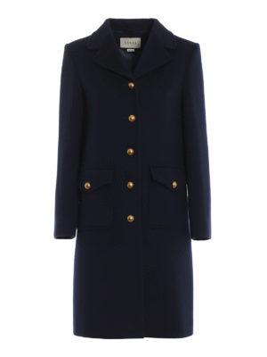 GUCCI: cappotti corti - Cappotto ad A in panno di lana blu scuro