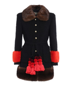 Gucci: short coats - Mink fur trim astrakhan wool coat