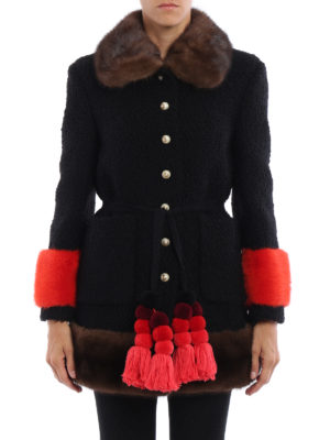 Gucci: short coats online - Mink fur trim astrakhan wool coat