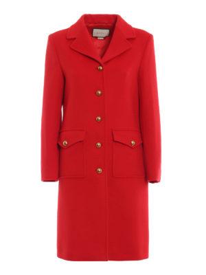 GUCCI: cappotti corti - Cappotto ad A in panno di lana rosso