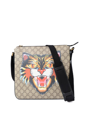 Gucci: shoulder bags - Angry Cat canvas messenger bag