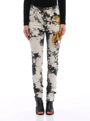 Gucci: skinny jeans online - Patch detail spotted effect jeans