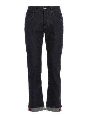 GUCCI: jeans skinny - Jeans skinny blu con dettaglio Web