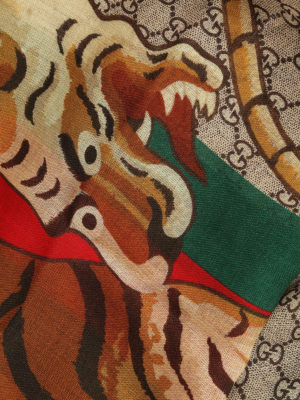 Gucci: Stoles & Shawls online - Web & Tiger print wool stole