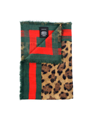 Gucci: Stoles & Shawls - Silk blend animal print foulard