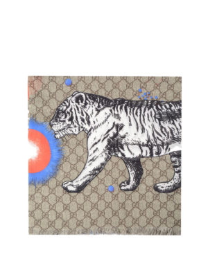 Gucci: Stoles & Shawls - Space Animals print shawl