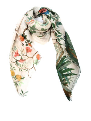 Gucci: Stoles & Shawls - Tian print wool and silk shawl